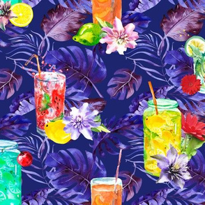 tropical watercolor summer fruity drink purple watercolor