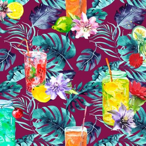 tropical watercolor summer fruity drink red raspberry