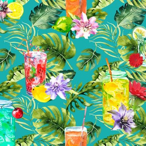 tropical watercolor summer fruity drink turquoise