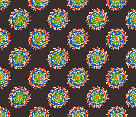 single suzani motif BLACK RED WHITE BLUE GREEN-01 fabric by kristin_nicholas on Spoonflower - custom fabric