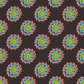 single suzani motif BLACK RED WHITE BLUE GREEN-01