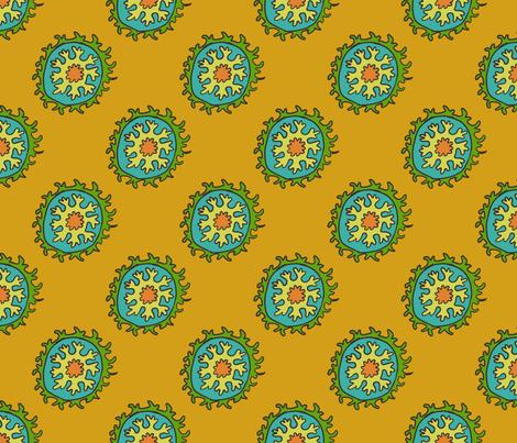 single suzani motif OCHRE GREEN TURQ CELERY-01 fabric by kristin_nicholas on Spoonflower - custom fabric