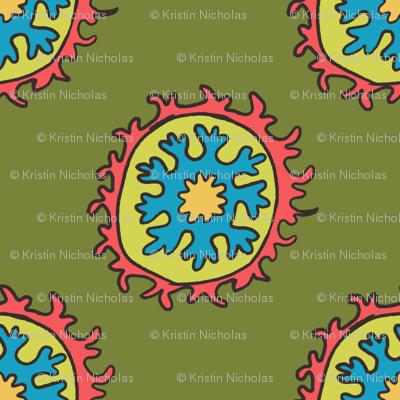 single suzani motif OLIVE PINK CELERY TURQ-01