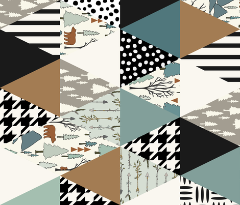 Bear Forest - Triangle Cheater Quilt -  Whole Cloth Quilt - teal, Mint, copper, brown fabric by fernlesliestudio on Spoonflower - custom fabric