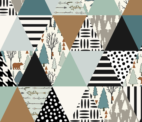 Bear Forest - Triangle Cheater Quilt - ROTATED - - Whole Cloth Quilt fabric by fernlesliestudio on Spoonflower - custom fabric