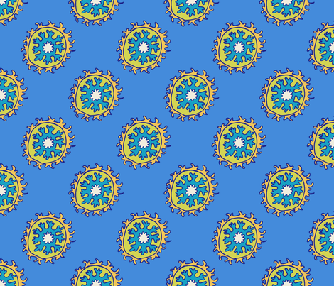 single suzani motif BLUE YELLOW-01 fabric by kristin_nicholas on Spoonflower - custom fabric