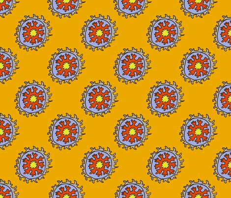 single suzani motif ORANGE GRAY-01 fabric by kristin_nicholas on Spoonflower - custom fabric