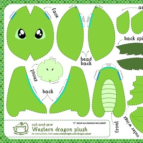 Cut & Sew Plush Dragon Green