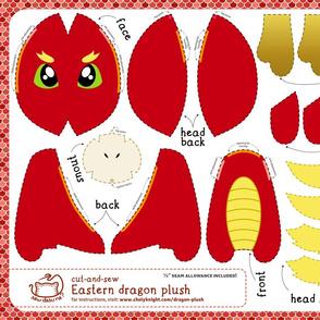 Cut & Sew Eastern Dragon Plush Red