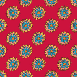 single suzani motif RED YELLOW BLUE PEACH-01