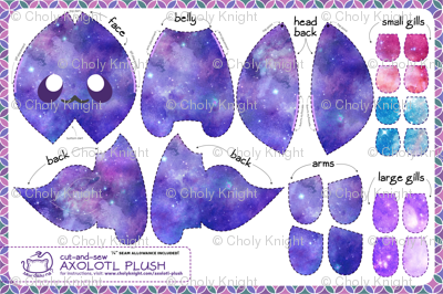 Cut & Sew Galaxy Axolotl Plush