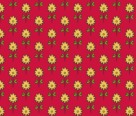 SUZANI FLOWER RED YELLOW fabric by kristin_nicholas on Spoonflower - custom fabric