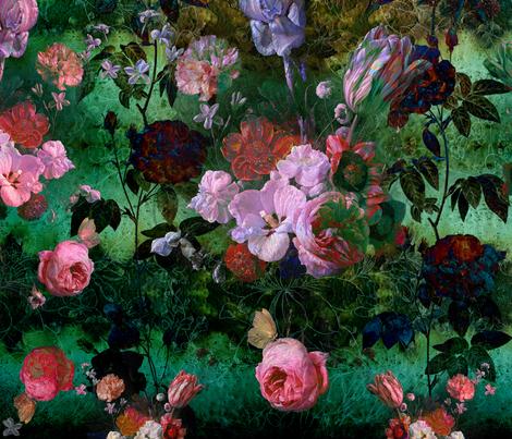 Rose garden and rust fabric by kura_carpenter on Spoonflower - custom fabric
