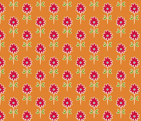 single suzani motif SMALL ORANGE RED WHITE-01 fabric by kristin_nicholas on Spoonflower - custom fabric