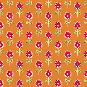 single suzani motif SMALL ORANGE RED WHITE-01