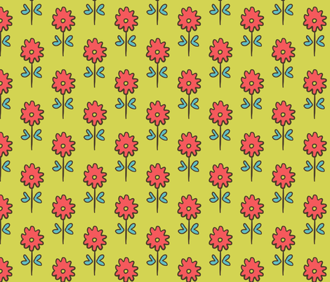 SUZANI FLOWER CELERY PINK fabric by kristin_nicholas on Spoonflower - custom fabric