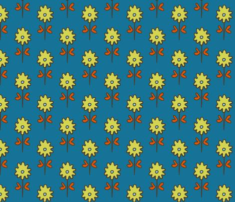 SUZANI  FLOWER TEAL CELERY fabric by kristin_nicholas on Spoonflower - custom fabric