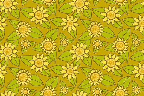 SUNFLOWER LARGE SCALE DESIGN fabric by kristin_nicholas on Spoonflower - custom fabric