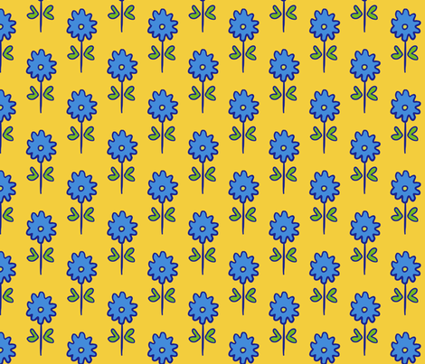 single suzani motif SMALL yellow blue-01 fabric by kristin_nicholas on Spoonflower - custom fabric