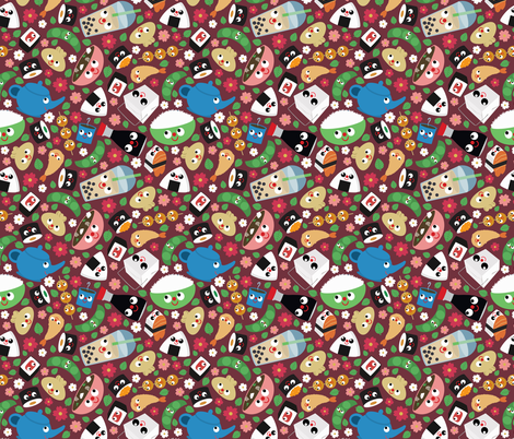 Bento Box cranberry fabric by heidikenney on Spoonflower - custom fabric