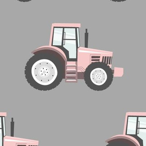 (jumbo scale) light pink tractors on grey - farm fabric