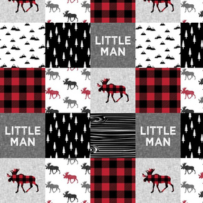 "4"" small scale - little man patchwork quilt top 