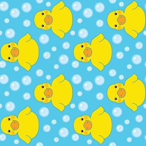 rubber ducks and bubbles-on-bright-blue