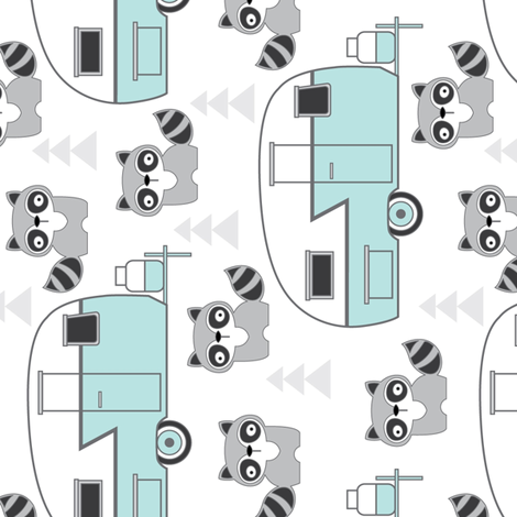 raccoons and teal trailers sideways fabric by lilcubby on Spoonflower - custom fabric