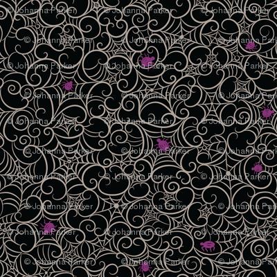 Spooky Swirl Gray Cobwebs on Black