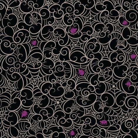 Spooky Swirl Gray Cobwebs on Black  fabric by johannaparkerdesign on Spoonflower - custom fabric