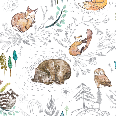 Let's Go Zzzzz (white) fabric by nouveau_bohemian on Spoonflower - custom fabric