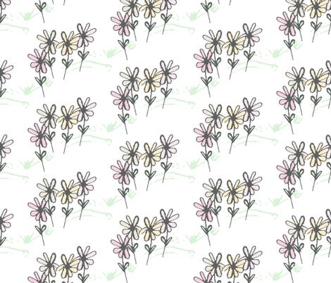 Delicate Daisy Flower Meadow  fabric by studiojulieann on Spoonflower - custom fabric