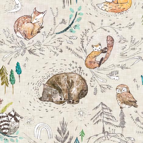 Let's Go Zzzzz (ecru) fabric by nouveau_bohemian on Spoonflower - custom fabric