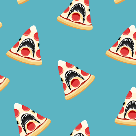 Pizza Shark - blue fabric by littlearrowdesign on Spoonflower - custom fabric