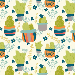Cactus Patch in Pots and Floral Background