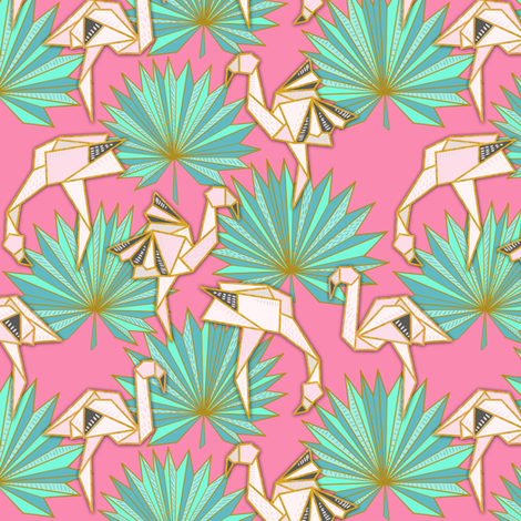 Flamingami Ori-topia (rose pink) fabric by helenpdesigns on Spoonflower - custom fabric