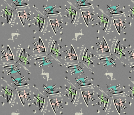 Cosmic tulips on textured gray fabric studioxtine for Cosmic print fabric