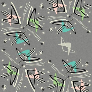 Cosmic Tulips on Textured Gray