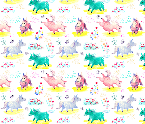 Frollicking horses by Mount Vic and Me fabric by mountvicandme on Spoonflower - custom fabric