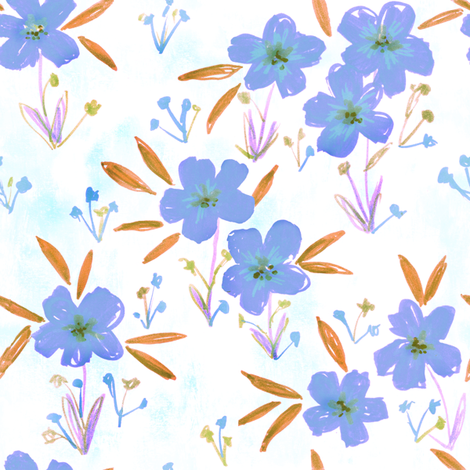 leila floral periwinkle fabric by schatzibrown on Spoonflower - custom fabric