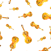 mosaic violins on white (yellow orange red XXX)