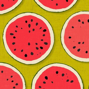 watermelon polka chartreuse