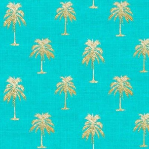 Golden Palm on Turquoise Linen