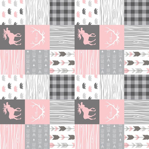 """3"""" moose and bears - baby girl woodland - Wholecloth quilt design"""