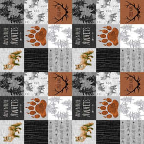 "3"" Fox Quilt Adventure Awaits- Little Man - Rust, Black And grey -ROTATED"