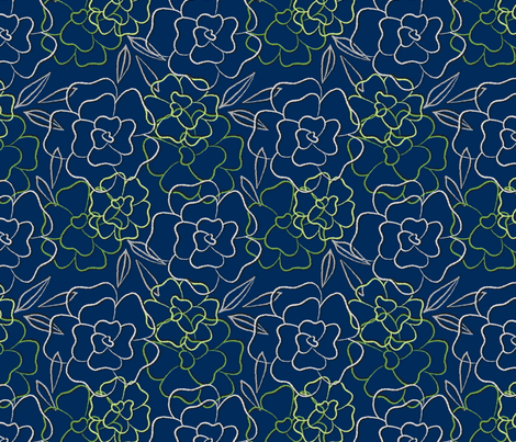 Dream Flower Outline—Green fabric by oh_maybe on Spoonflower - custom fabric