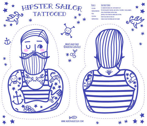 Hipster Sailor Tattooed fabric by morecandyshop on Spoonflower - custom fabric