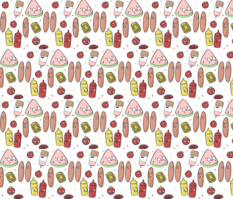 Fire Up The BBQ fabric by how-store on Spoonflower - custom fabric