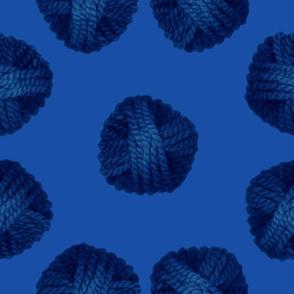 monochromatic blue yarn