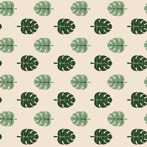 Monstera leaves beige
